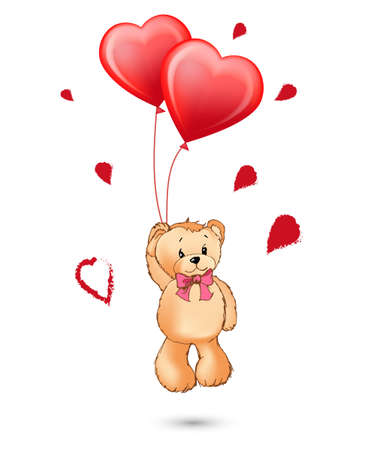 A toy bear with balloons in the form of red hearts in its paws. Happy Valentines day concept. Vector template for Happy birthday cards Vectores