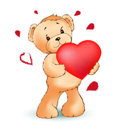A toy bear with a red heart in its paws. Happy Valentines day concept. Vector template for Happy birthday cards