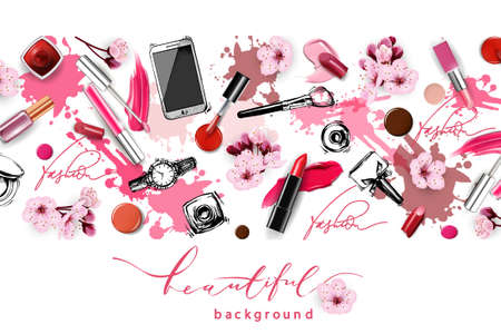 Vector hand drawn graphic fashion sketch Cosmetics with cherry blossoms. Isolated elements.Cosmetics, lipstick, nail Polish, lipstick smears.The view from the top.Template Vector