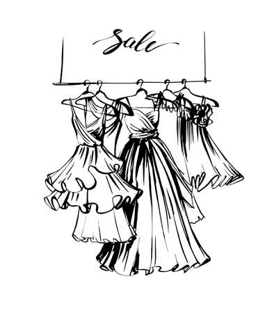Fashion sketch of beautiful womens dresses. Clothing sale. Sale concept.Wedding gown. Vector template Vectores