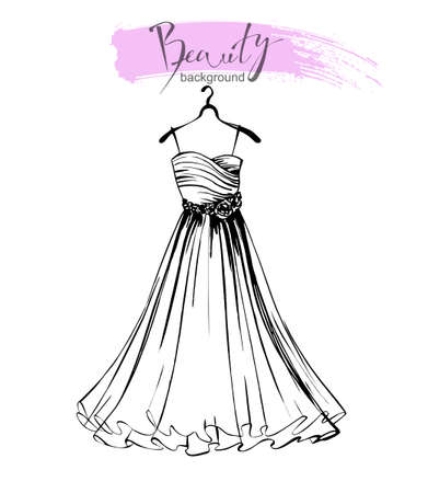 Fashion sketch of a beautiful womens dress. Wedding gown. Vector template