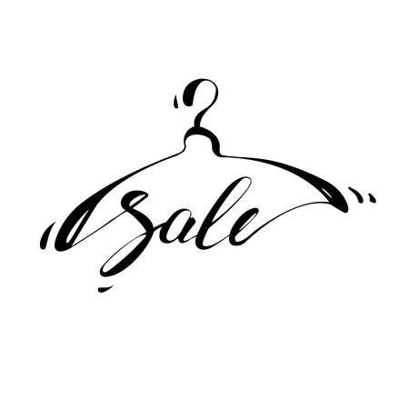 Creative sales  design. Vector sign with lettering and hanger symbol.  Vector template. Vectores