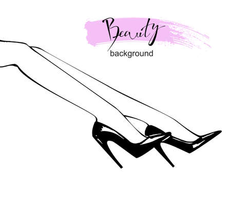 Sketch of womens beautiful legs in high heels. Vector illustration of fashionable woman in trendy shoes in glamour vogue style.