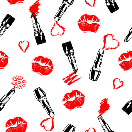 Seamless fashion and cosmetics background with make up artist objects: lipstick, with kisses . Vector illustration