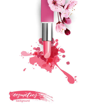 Pink lipstick with a smear of lipstick. Fashion and cosmetics store. The concept of makeup. 3D realistic detailed mockup.Vector template for cosmetic product advertising, title, flyer, postcard. Vectores