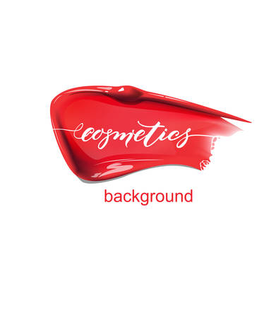 Smears of red lipstick.Beauty and cosmetics background. Use for advertising flyer, banner, leaflet. Template Vector.