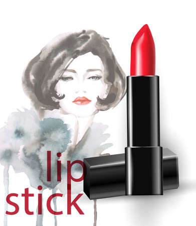 Red lipstick against the background of a beautiful female face, a watercolor drawing.Fashion and cosmetics store. The concept of makeup. Vector template for cosmetic product advertising, title, flyer.