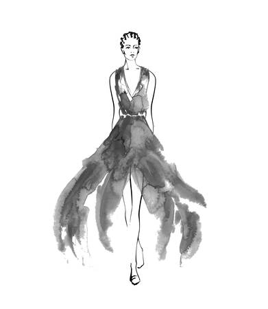 Fashion sketch models are hand drawn, stylized silhouettes isolated.Vector fashion illustration set.