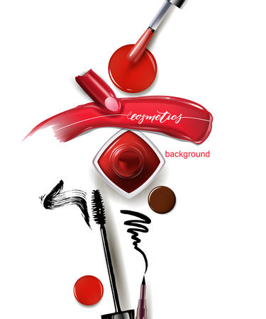Red lipstick and a smear of lipstick and red nail Polish, mascara and eyeliner. Beauty and cosmetics background. Use for advertising flyer, banner, leaflet. Template Vector Vectores