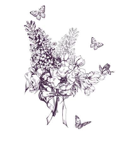 Blumenstrauß aus blühenden Fliederbäumen, Apfelblumen und Schmetterlingen. Handgezeichnete Skizze. Vektor-Illustration. Konzept einer Geburtstagskarte, Einladungskarte, glücklicher Muttertag, Werbung.