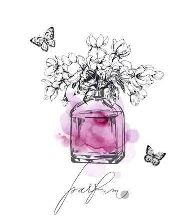 A beautiful bottles of perfume a against the background of delicate Apple blossoms Womens perfume. Elements for design.Vector template for cosmetic product advertising, title, flyer, postcard.