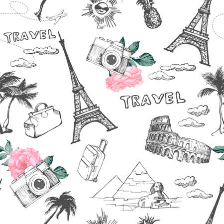 Travel seamless pattern. Vacation in Europe wallpaper. Travel to visit famous places of Europe.Vector pattern.