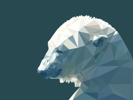 Vector illustration of low poly polar bear. Geometric polygonal polar bear silhouette. Polar bear triangles low poly vector.