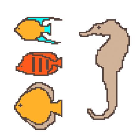 Pixel exotic fish vector set.