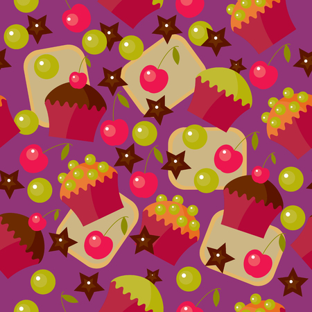 Vector sweet seamless pattern, background for design. Иллюстрация