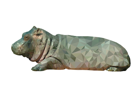 Vector illustration of low poly hippo. Geometric polygonal hippo portrait. Hippo triangles low poly vector.