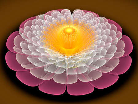 Fractal abstract flower, computer-generated illustration. Stock Photo