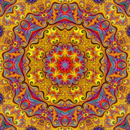 Mandala fractal abstracto, ilustración generada por computadora.