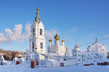 beautiful church in winter on a background blue sky in city Perm, Russia