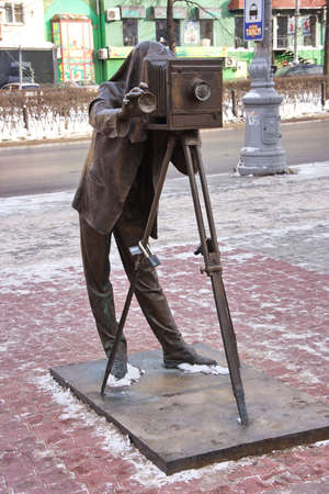 perm: a sculpture of photographer is in city Perm, Russia Stock Photo