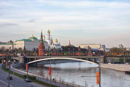 landscape with a kind on Kremlin, city Moscow, Russia photo