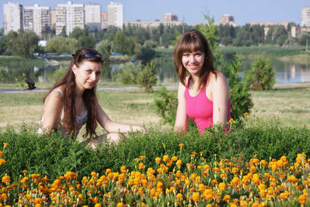 two young girls on nature photo