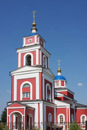 temple against the blue sky in the city of Tula, Russia photo