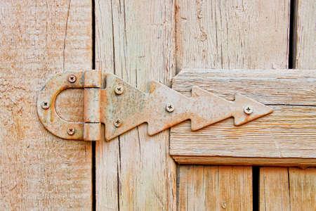 hinge on an old wooden door hinge
