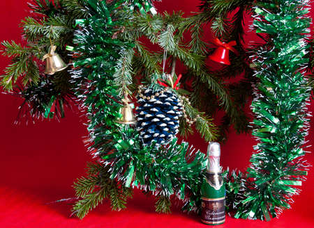festive christmas still life on a red background