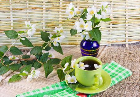green tea and sprigs of jasmin