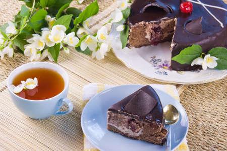 green tea with jasmin and cake Stock Photo