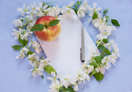 beautiful designer background with the sprigs of flowering apple-tree, notebook, pen and red apple