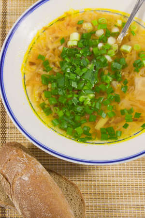 hot soup with  spring onions and rye bread on a decorative napkin Stock Photo