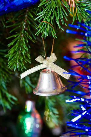 new-year toy a bluebell hangs on a christmas tree