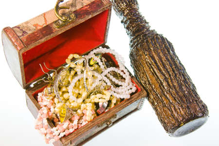 valuables: a small box with valuables and decorative bottle of wine