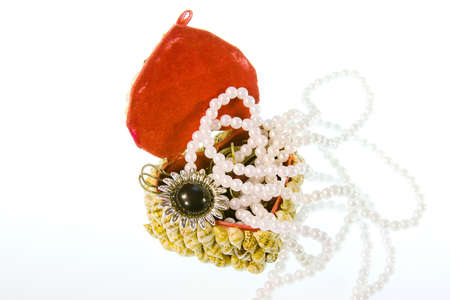 small box from cockleshells with decorations on a white background Stock Photo - 17024334
