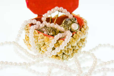 small box from cockleshells with decorations on a white background Stock Photo - 17024346