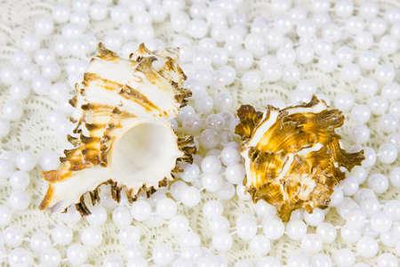 cockleshells: two cockleshells and beads of pearls