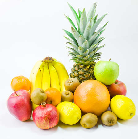 still life from different fruit on a white background Stock Photo - 17278950