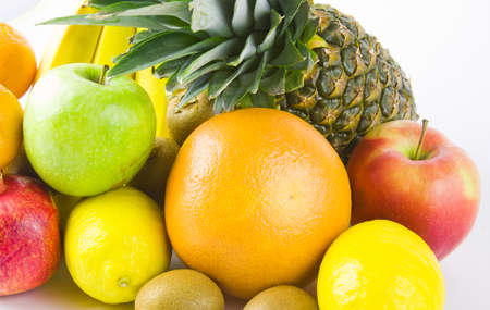 still life from different fruit on a white background Stock Photo - 17279025