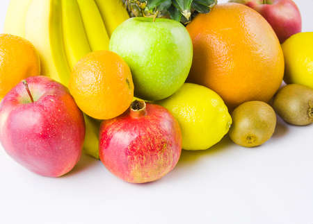 still life from different fruit on a white background Stock Photo - 17279010