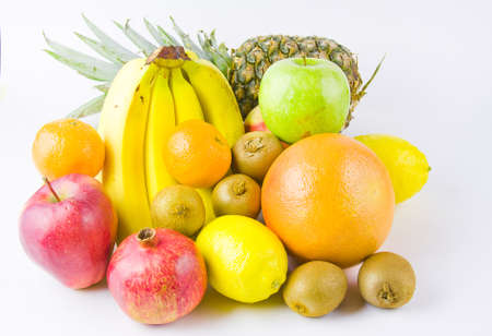 still life from different fruit on a white background photo
