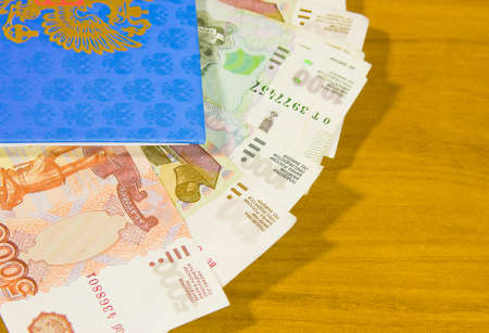thousandth: notebook and Russian money Stock Photo
