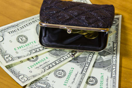 accumulations: purse and dollars Stock Photo