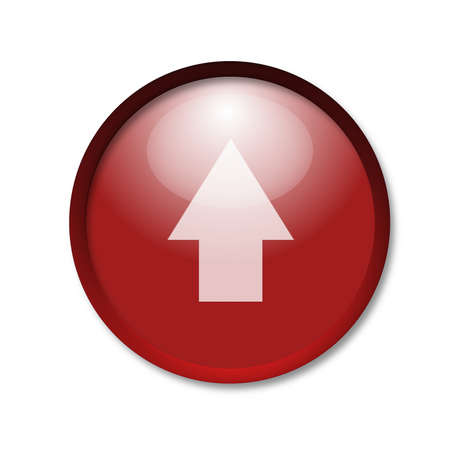 flowed: brightly red button with a pointer on a white background