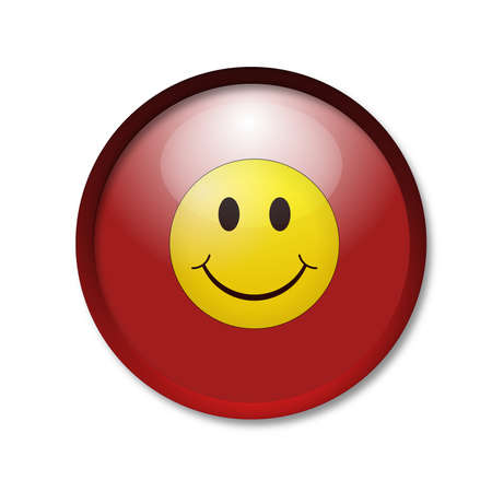 brightly red button with ordinary smiley icon on white  background photo