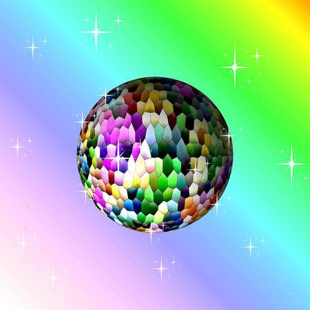 mirrorball: colorful disco ball