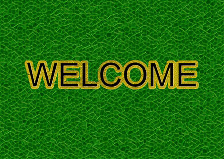 carpet grass: bright green lawn  with inscription  Welcome  Stock Photo