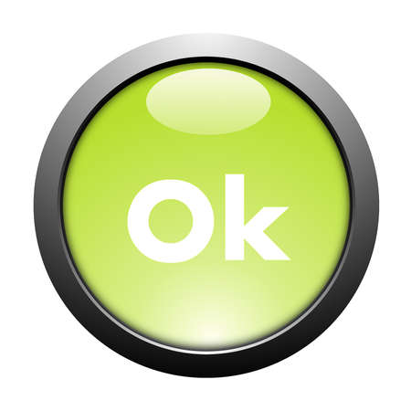 flowed: brightly green button on a white background