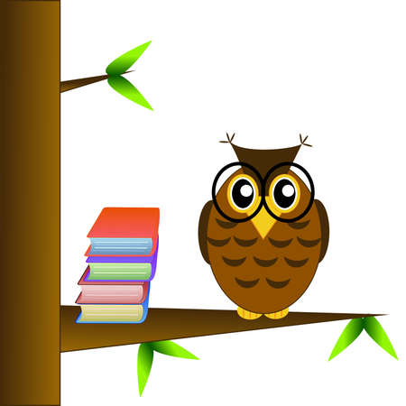 spectacled: a clever owl spectacled sits on a tree with books on a white background,illustration a raster